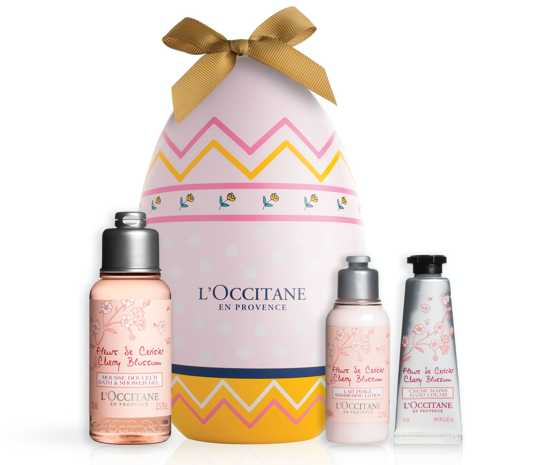 L'OCCITANE Cherry Blossom Easter Egg with products