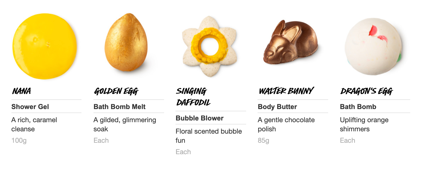 Lush Easter Golden Egg Contents